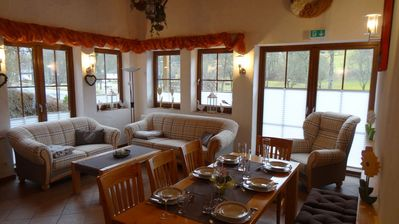 Photo for Holiday house (100m2) with fireplace, large terrace, mountain and lake views