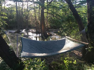 One of two couple size hammocks on the property!