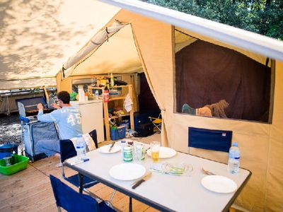 Photo for Camping Huttopia Vallouise *** - Tent Wood & Canvas 3 Rooms 5 People