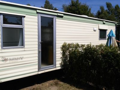 Photo for Renovated mobile home, situated in green holiday park with swimming pool, nearby the town of Spa