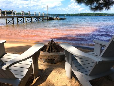 Relax on the beach with a fire while you enjoy the lake.