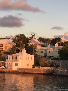 View of the cottage from the Ferry.  Pink house on the hill!