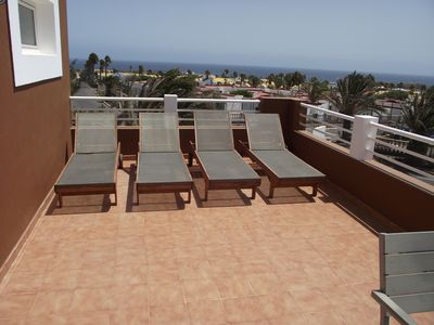 No shortage of loungers here and a sea view