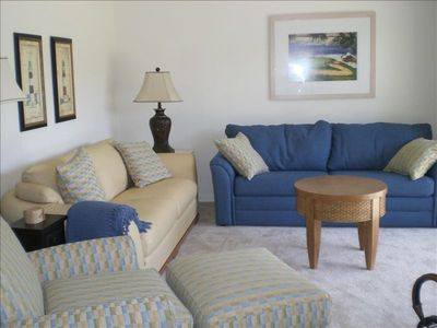 Living Room - blue linen couch queen sleeper sofa