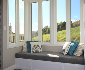 Great views of the ski slopes and hiking trails from the window seat.
