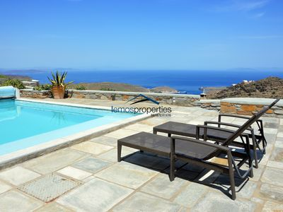 Photo for Stylish stone villa with a swimming pool and asea view