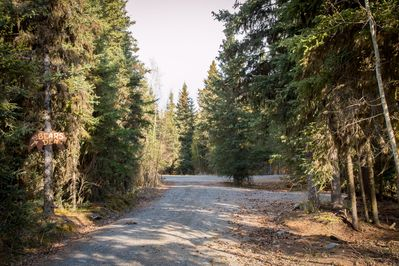 The cabin is just on the left nestled amoung some spruce - very private!