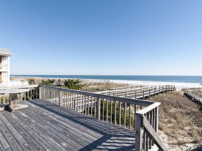 Photo for Oceanfront cottage with rooftop deck and private beach access