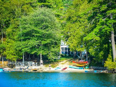 Photo for The Great House: Luxury lakefront, sleeps 15, sandy beach, fireplace, hot tub