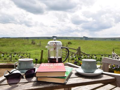 Enjoy countryside views towards the Pennines with a coffee
