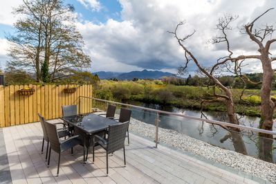 Patio Area overlooking River and Mountains