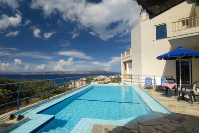 Views of Souda Bay from the pool