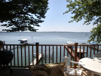 Sitting on the deck looking at beautiful Clear Lake.