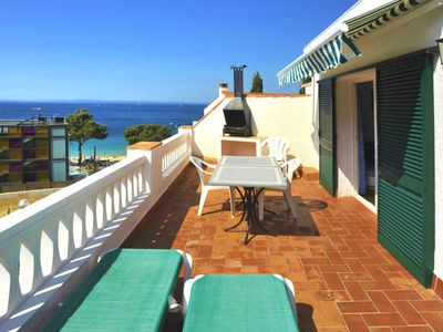 Photo for One-Bedroom Apartment Sea View located 50m from the beach.