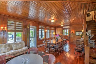 Enter the well-appointed living space featuring custom woodwork throughout.