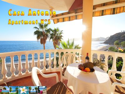 Photo for Apartment in a fantastic location, right on the beach of a small, peaceful bay.