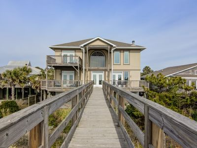 Photo for Oceanfront home with private beach boardwalk & 2 decks - event-friendly!