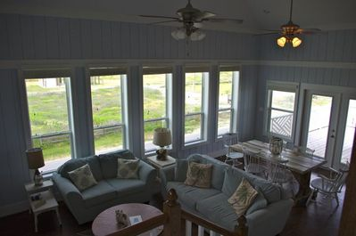 Looking down from Above towards the Frenchdoors that open toward the Ocean!