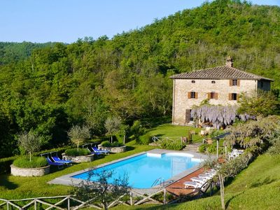 Photo for Secluded 17th century villa in 40 acres with pool and tennis court