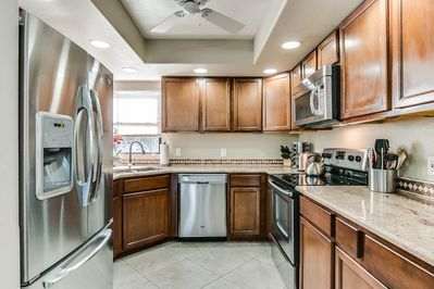 Beautifully remodeled kitchen with nice appliances.