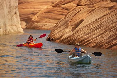 Lake Powell is a paradise for boating, waterskiing, fishing, camping, hiking, and exploring the Glen Canyon National Recreation Area