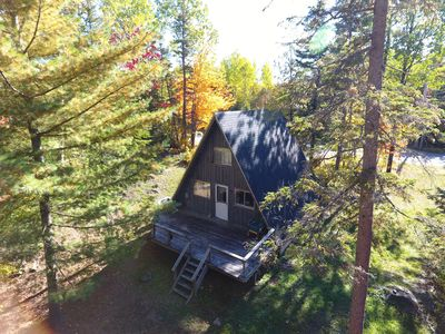Photo for Perfect cozy cottage for summer getaway - right on Carrabassett River,