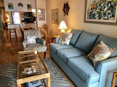 Brand new couch is comfortable and spacious.Open living and dining areas.