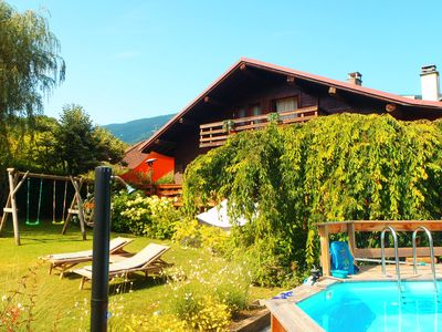 Photo for Lake Annecy, Beautiful apartment in chalet with pool and garden