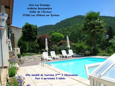 Photo for Cottage 3 *** Private Pool *, Air conditioning, family, friends, Ardèche Buissonnière
