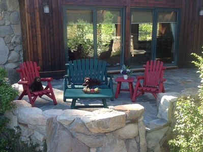 Happy baby bears looking to welcome you on our front patio looking at northstar