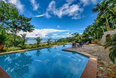 The large lap pool is located between the Main House and the Guest House.