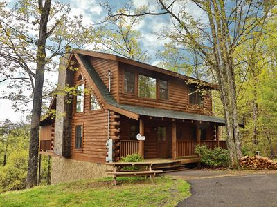 Photo for AMAZING VIEWS!! Very Private, Next to Hiking Trail, Woodburning Fireplace, Hot Tub, Pool Table!!