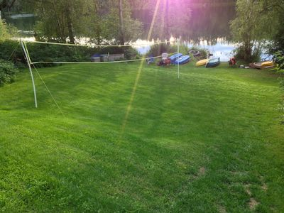 Fun on the lawn lake front, swim, fish, boats, dock, camp fires, lawn games