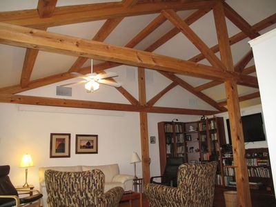 Timber Frame construction.  Cathedral living room.