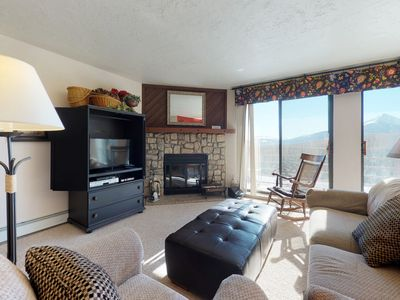 Photo for Modern condo with mountain views, shared hot tub, sauna & pool, hiking & skiing!