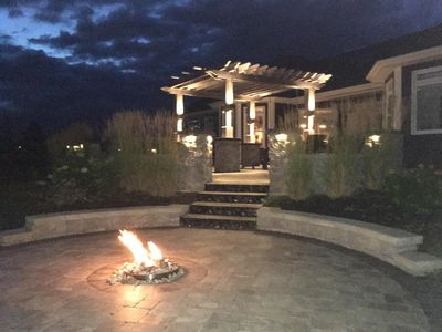Propane gas fire pit only available on rental of suite A