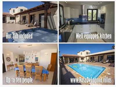Photo for Modern 5* luxury villa. Sleeps up to 10. Inc: heated private pool and hot tub