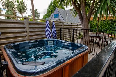 Family size spa pool on the private deck