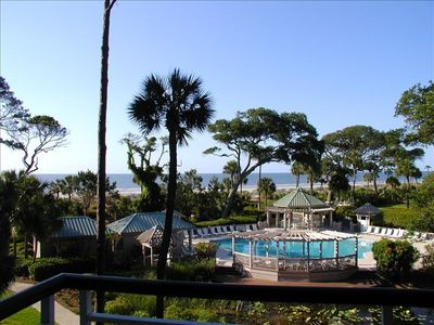 View of the pool and the ocean from our patio