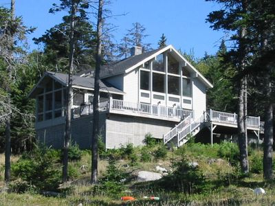 View of Jericho Bay House from the ocean. Easy hikes along the granite shore.