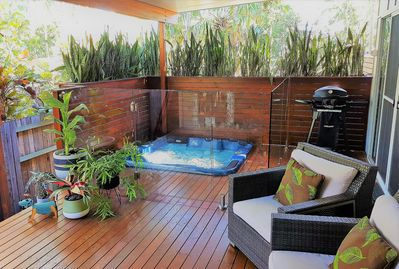 Private deck with luxurious heated spa