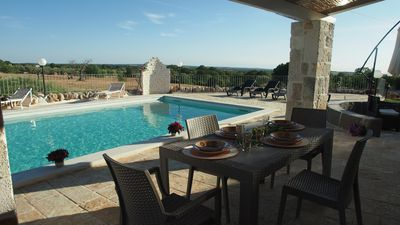 Dine by the pool with undisturbed views