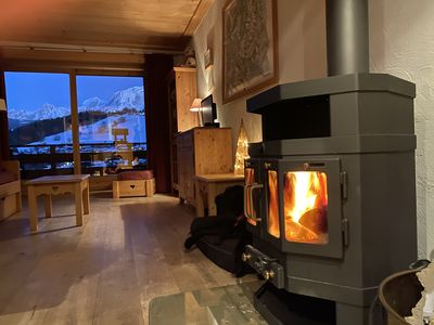Photo for Charming apartment in a chalet facing Mont Blanc and near the slopes.