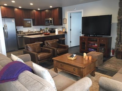 102 living area - Condo 102 is a 3 bedroom with a sleeper den.