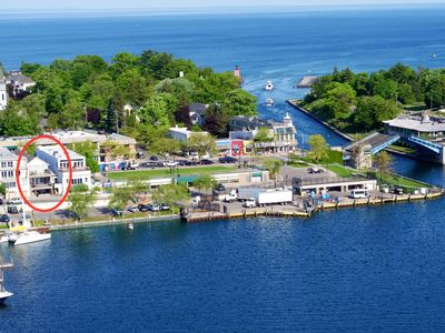 Aerial view with the Marina Suite circled in red.  What a view!