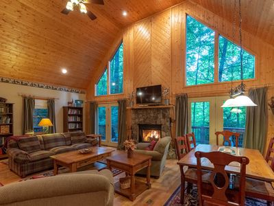 Photo for Modern cabin w/ firepit, hot tub & wrap-around porch - cathedral ceiling!