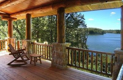 Rear covered  deck looking at Lake Galena