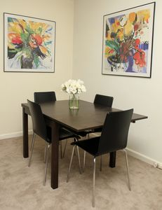 Dining area with extendable table if you need more room