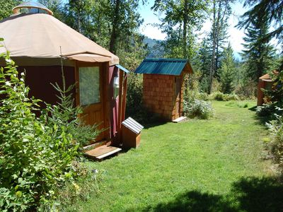 Photo for Mountain View Yurt with full kitchen, bathroom, hiking (Purple yurt, sleeps 3)