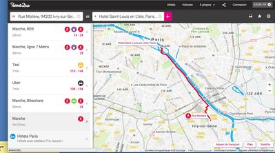 Map of transport and distance to central Paris. Close! Times and costs listed.